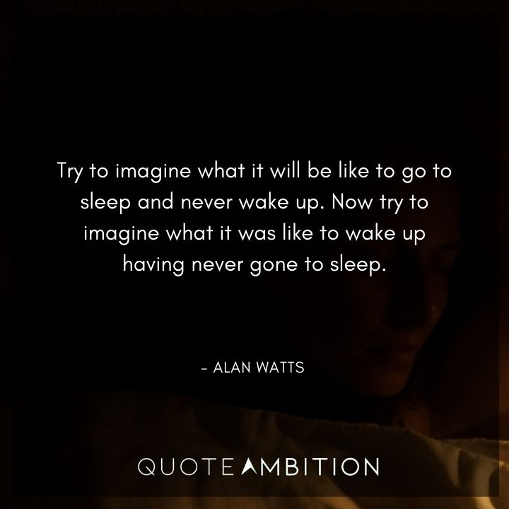 Alan Watts Quote - Try to imagine what it will be like to go to sleep and never wake up.