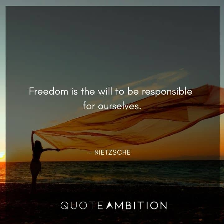 Friedrich Nietzsche Quote - Freedom is the will to be responsible for ourselves.