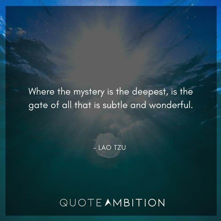 Lao Tzu Quote - Where the mystery is the deepest, is the gate of all that is subtle and wonderful.
