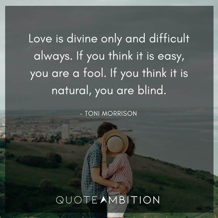 Toni Morrison Quote - Love is divine only and difficult always.