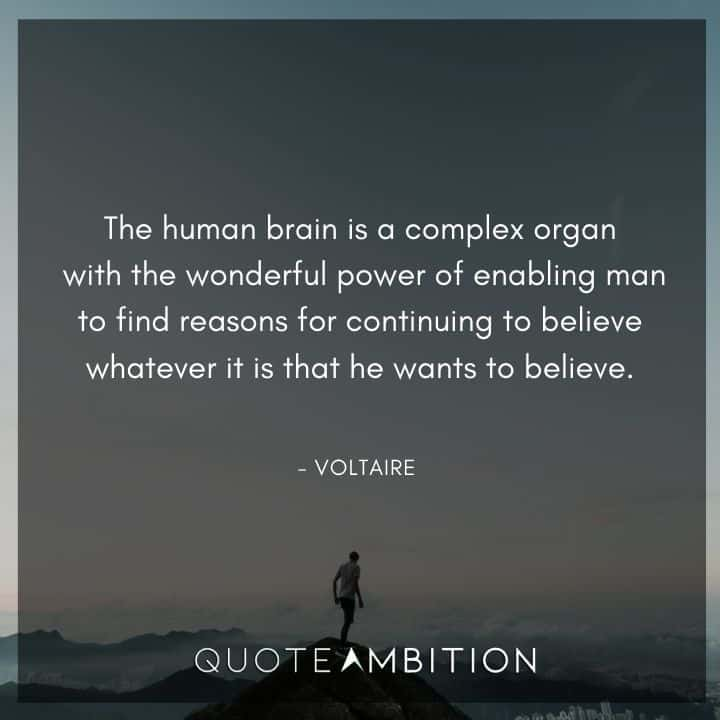 Voltaire Quote - The human brain is a complex organ