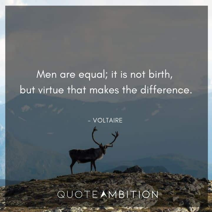 Voltaire Quote - Men are equal; it is not birth, but virtue that makes the difference.