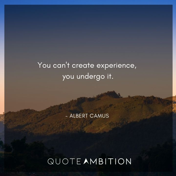 Albert Camus Quote - You can't create experience, you undergo it.