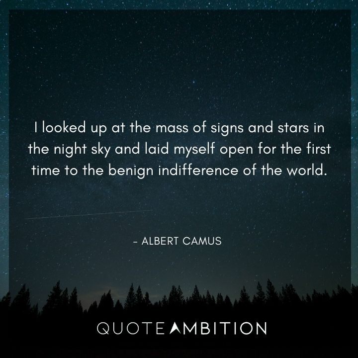 Albert Camus Quote - I looked up at the mass of signs and stars in the night sky and laid myself open for the first time to the benign indifference of the world.