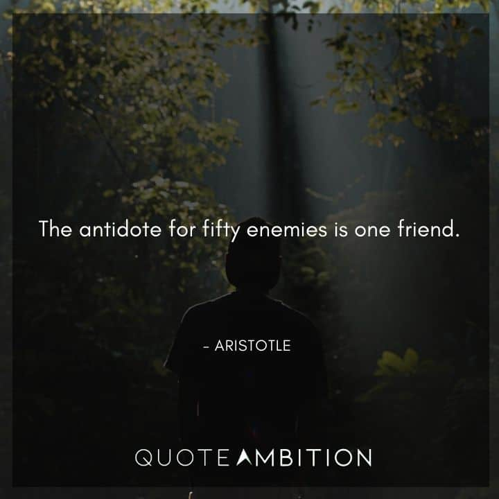 Aristotle Quote - The antidote for fifty enemies is one friend.