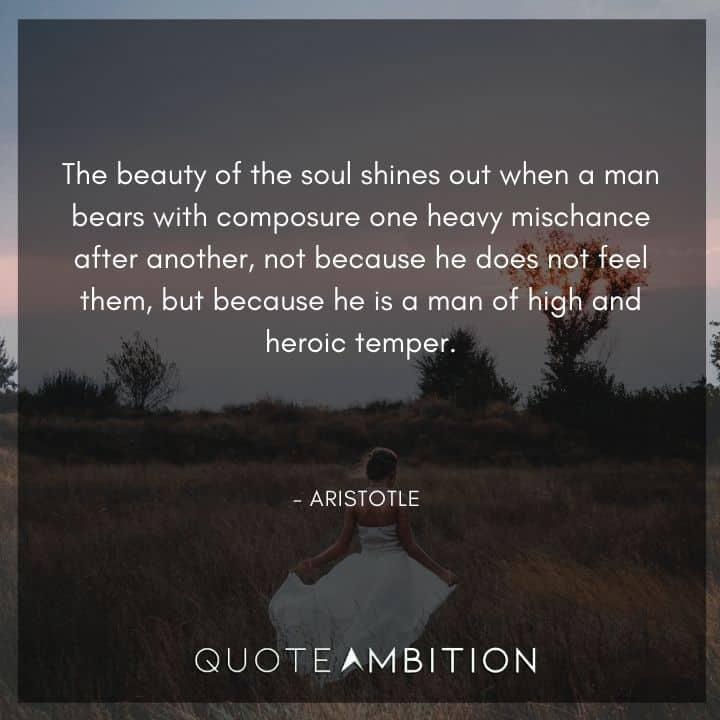 Aristotle Quote - The beauty of the soul shines out when a man bears with composure one heavy mischance after another.