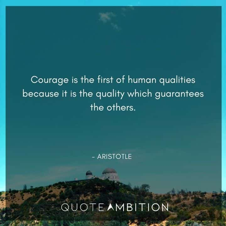 Aristotle Quote - Courage is the first of human qualities because it is the quality which guarantees the others.