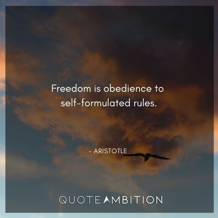 Aristotle Quote - Freedom is obedience to self-formulated rules.