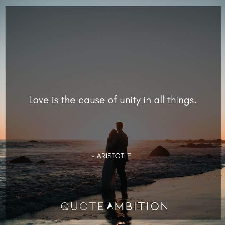 Aristotle Quote - Love is the cause of unity in all things.
