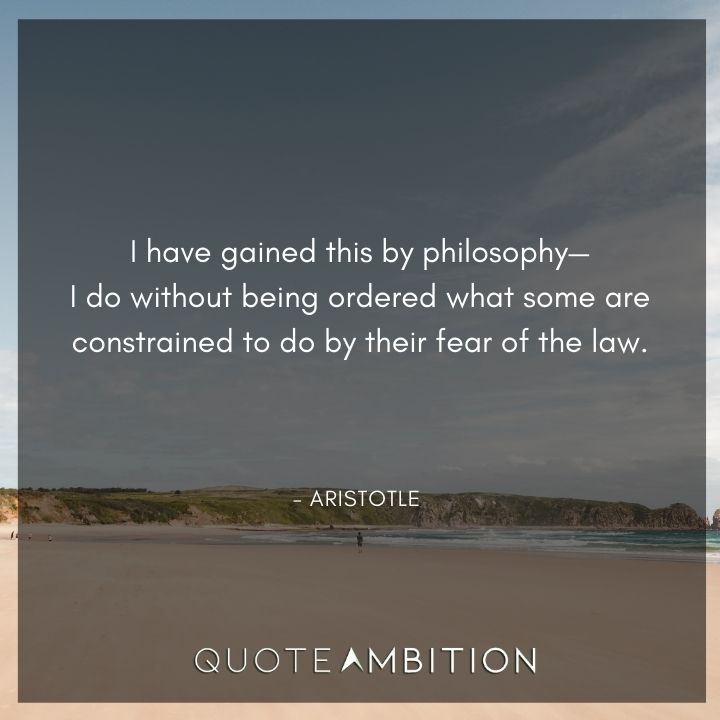 Aristotle Quote - I have gained this by philosophy.