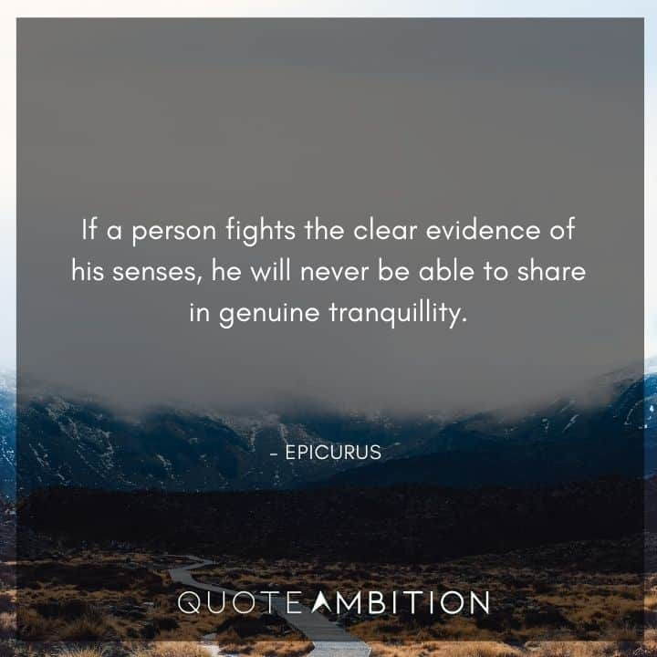 Epicurus Quote - If a person fights the clear evidence of his senses, he will never be able to share in genuine tranquillity.