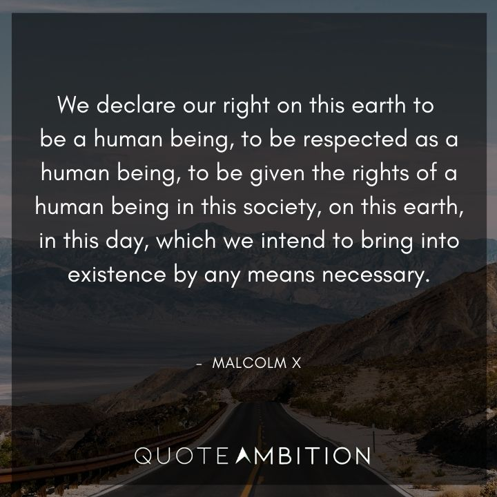 Malcolm X Quotes - We declare our right on this earth to be a human being.