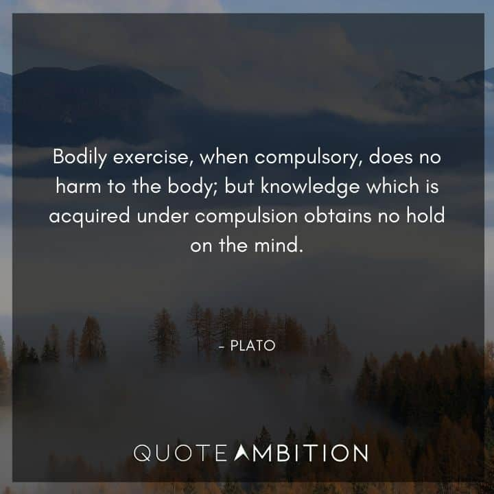 Plato Quote - Bodily exercise, when compulsory, does no harm to the body.