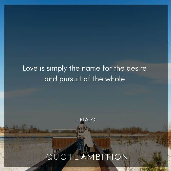 Plato Quote - Love is simply the name for the desire and pursuit of the whole.