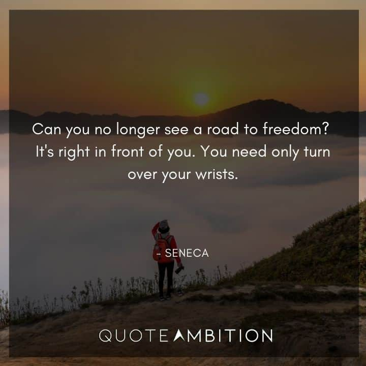 Seneca Quote - Can you no longer see a road to freedom? It's right in front of you.