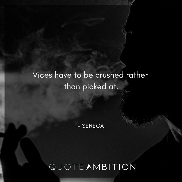 Seneca Quote - Vices have to be crushed rather than picked at.