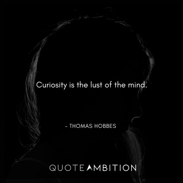 Thomas Hobbes Quote - Curiosity is the lust of the mind.