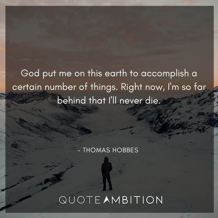 Thomas Hobbes Quote - God put me on this earth to accomplish a certain number of things.
