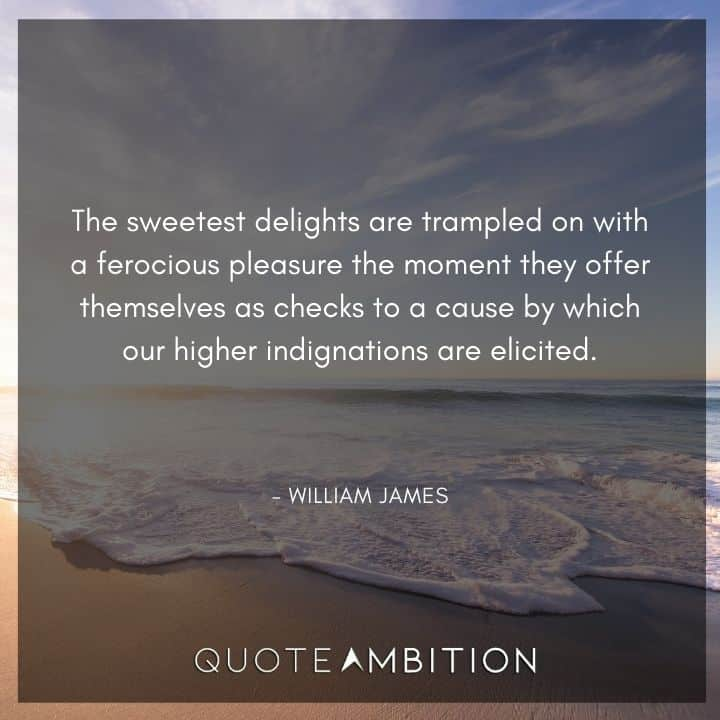 William James Quote - The sweetest delights are trampled on with a ferocious pleasure the moment they offer themselves as checks to a cause by which our higher indignations are elicited.