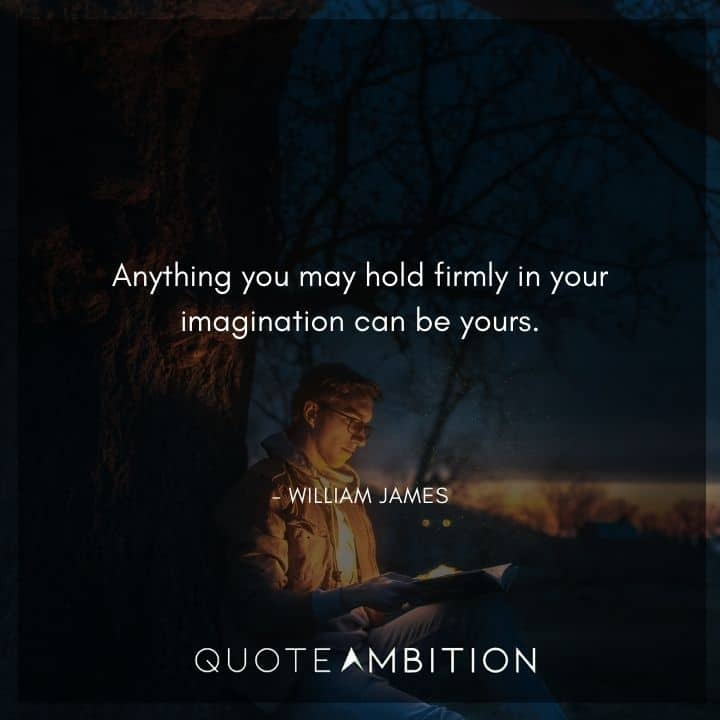 William James Quote - Anything you may hold firmly in your imagination can be yours.