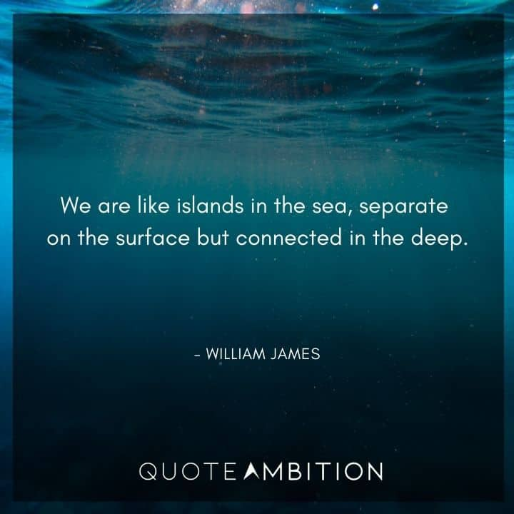 William James Quote - We are like islands in the sea, separate on the surface but connected in the deep.