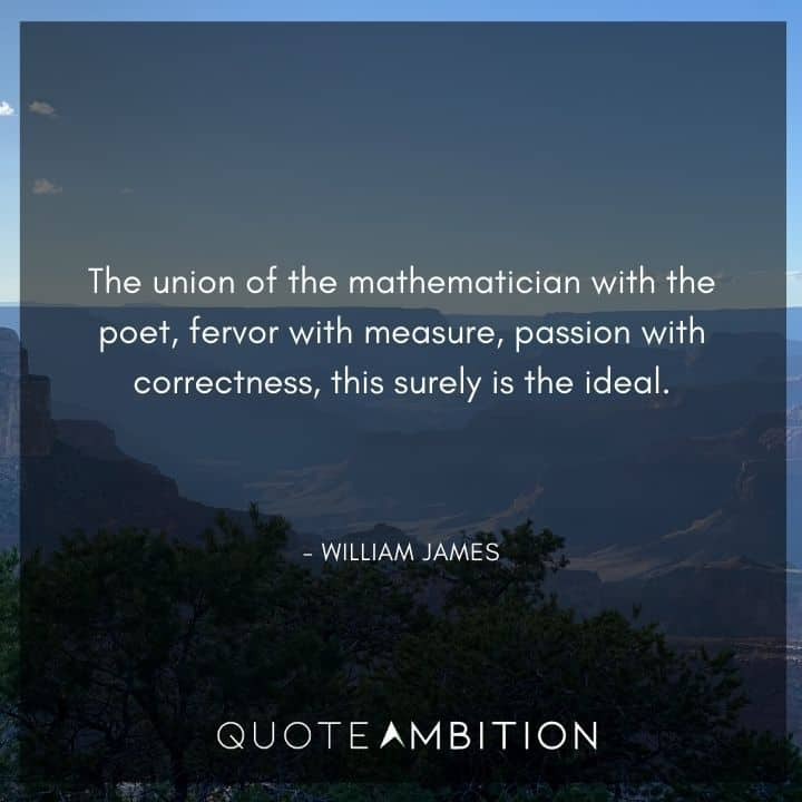 William James Quote - The union of the mathematician with the poet, fervor with measure, passion with correctness, this surely is the ideal.