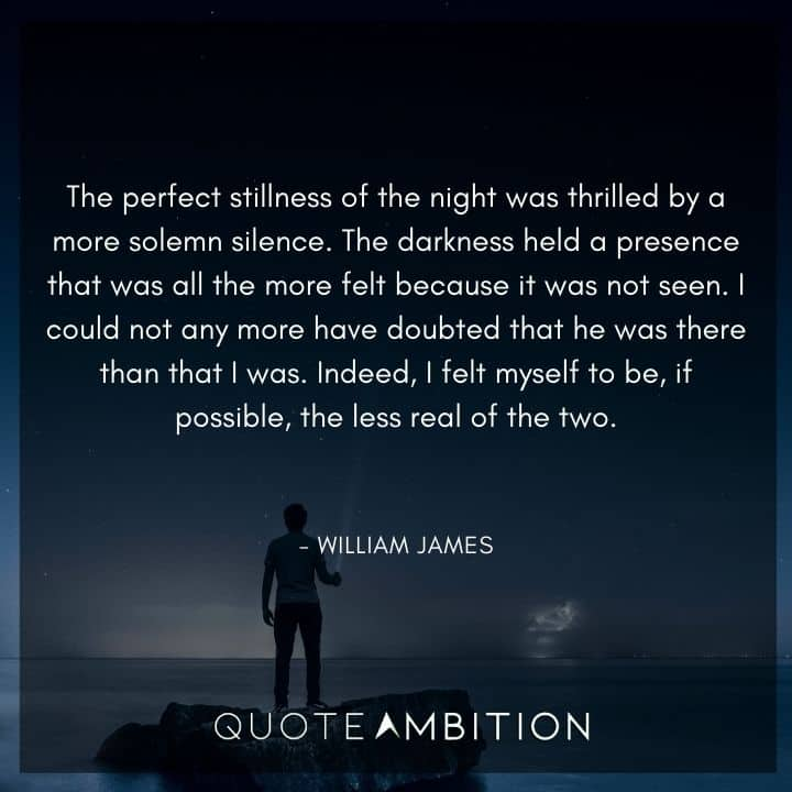 William James Quote - The perfect stillness of the night was thrilled by a more solemn silence.