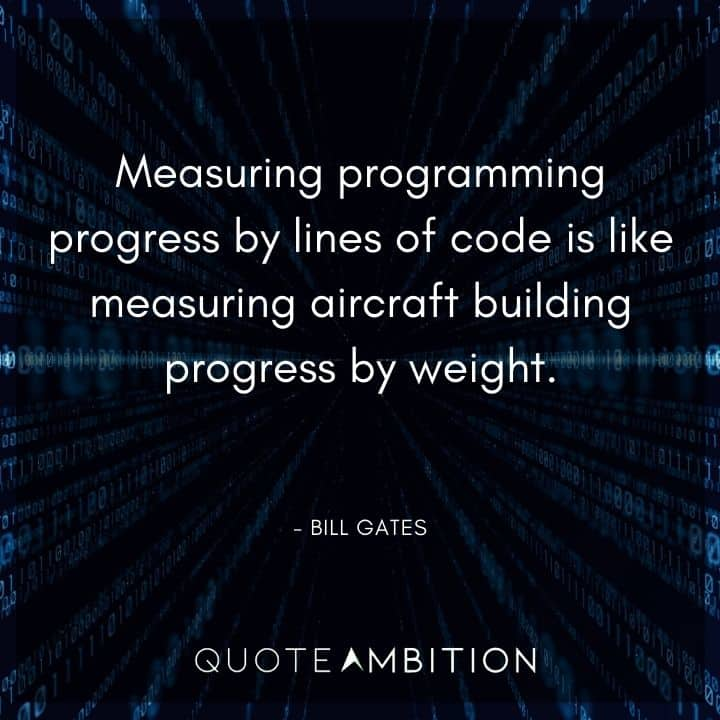 Bill Gates Quote - Measuring programming progress by lines of code is like measuring aircraft building progress by weight.