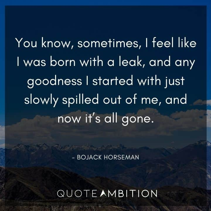 BoJack Horseman Quote - You know, sometimes, I feel like I was born with a leak.