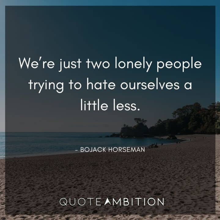 BoJack Horseman Quote - We're just two lonely people trying to hate ourselves a little less.