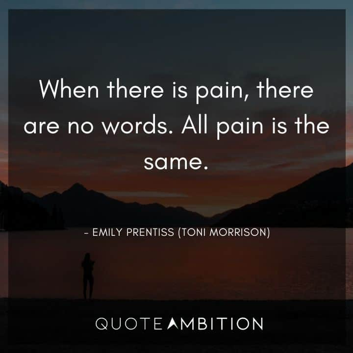 Criminal Minds Quote - When there is pain, there are no words. All pain is the same.
