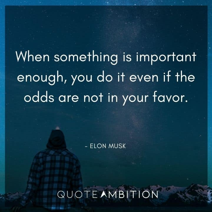 Elon Musk Quote - When something is important enough, you do it even if the odds are not in your favor.