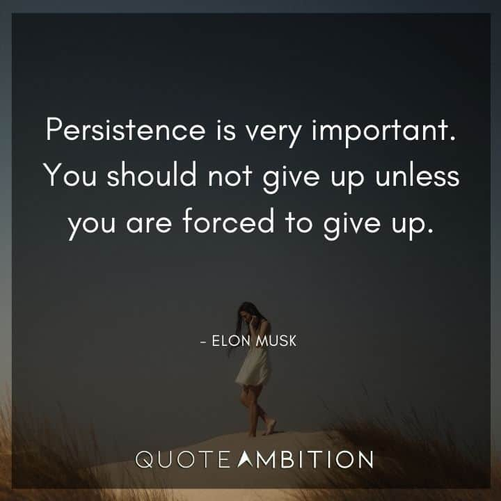 Elon Musk Quote - Persistence is very important. You should not give up unless you are forced to give up.