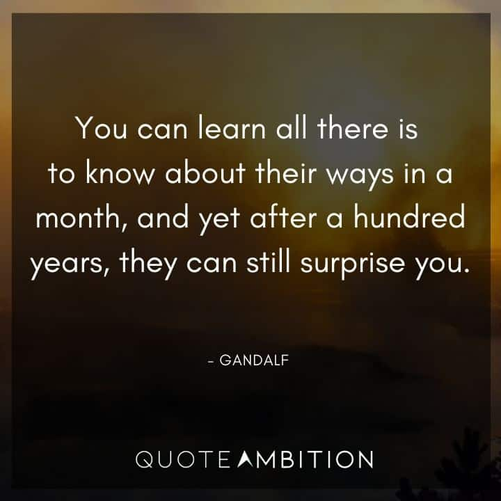 Gandalf Quote - You can learn all there is to know about their ways in a month, and yet after a hundred years, they can still surprise you.