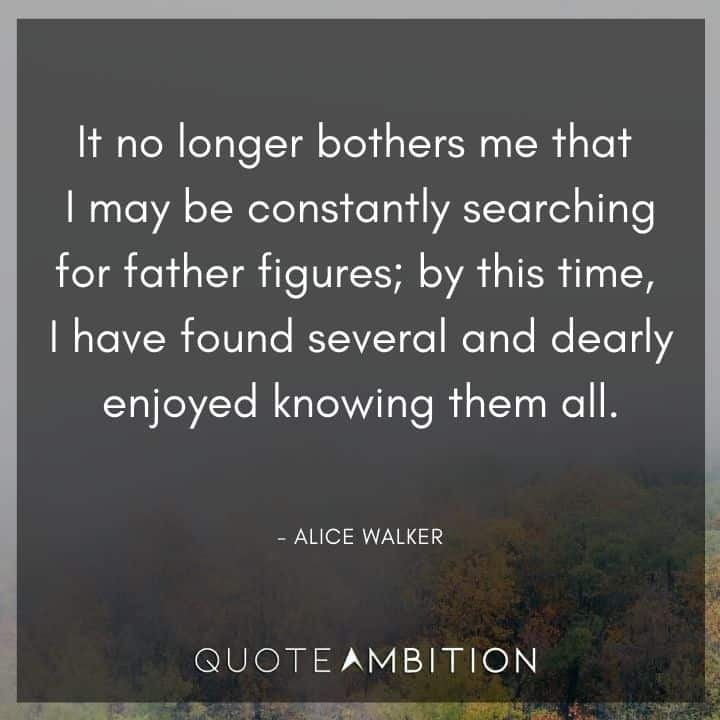 Alice Walker Quote - It no longer bothers me that I may be constantly searching for father figures.