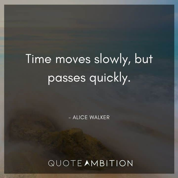 Alice Walker Quote - Time moves slowly, but passes quickly.