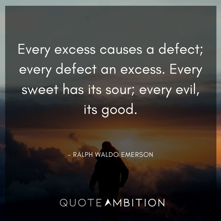 Ralph Waldo Emerson Quote - Every excess causes a defect; every defect, an excess.