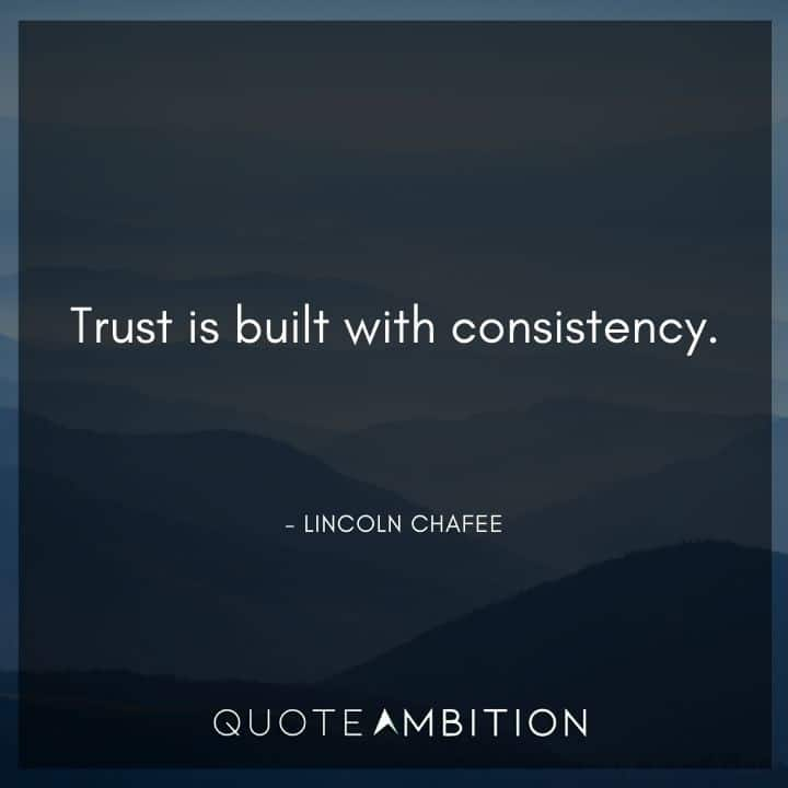 Consistency Quotes - Trust is built with consistency.
