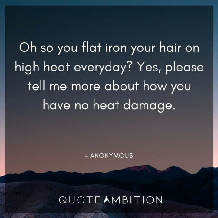 Hair Quotes - Yes, please tell me more about how you have no heat damage.