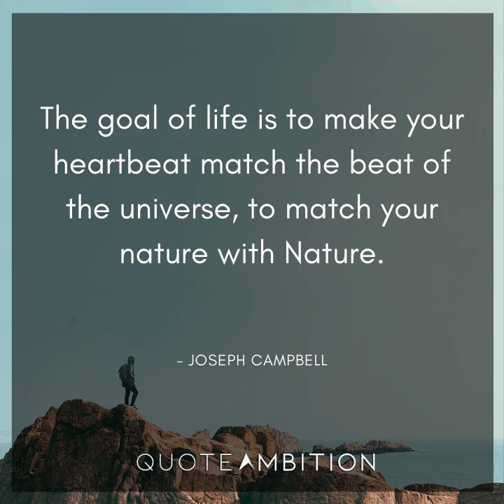 Universe Quotes - The goal of life is to make your heartbeat match the beat of the universe, to match your nature with Nature.