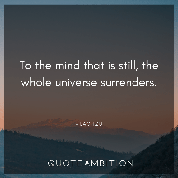 Universe Quotes - To the mind that is still, the whole universe surrenders.